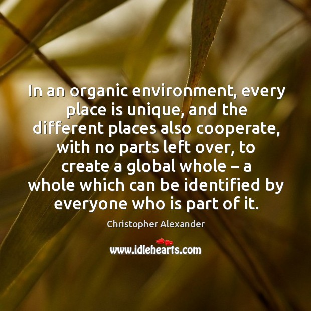 In an organic environment, every place is unique, and the different places also cooperate Christopher Alexander Picture Quote