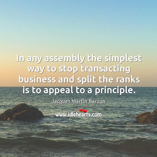 In any assembly the simplest way to stop transacting business and split the ranks is to appeal to a principle. Image