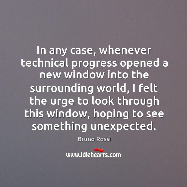 In any case, whenever technical progress opened a new window into the surrounding world Image