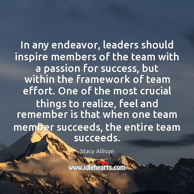 In any endeavor, leaders should inspire members of the team with a Image