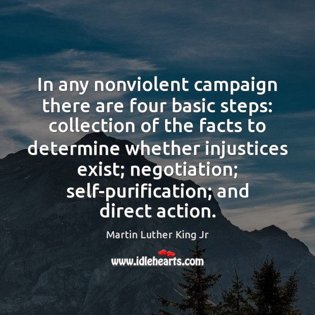 In any nonviolent campaign there are four basic steps: collection of the Martin Luther King Jr Picture Quote