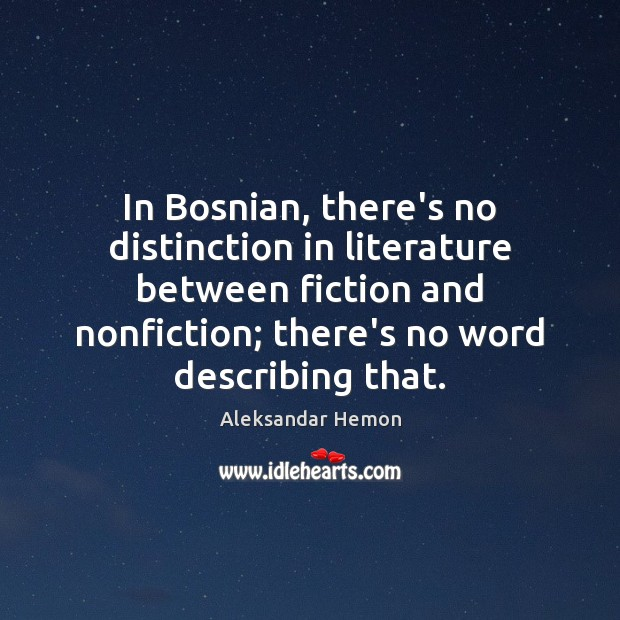 In Bosnian, there's no distinction in literature between fiction and nonfiction; there's Image