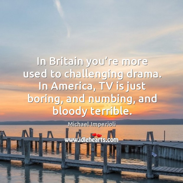 In britain you're more used to challenging drama. In america, tv is just boring, and Image