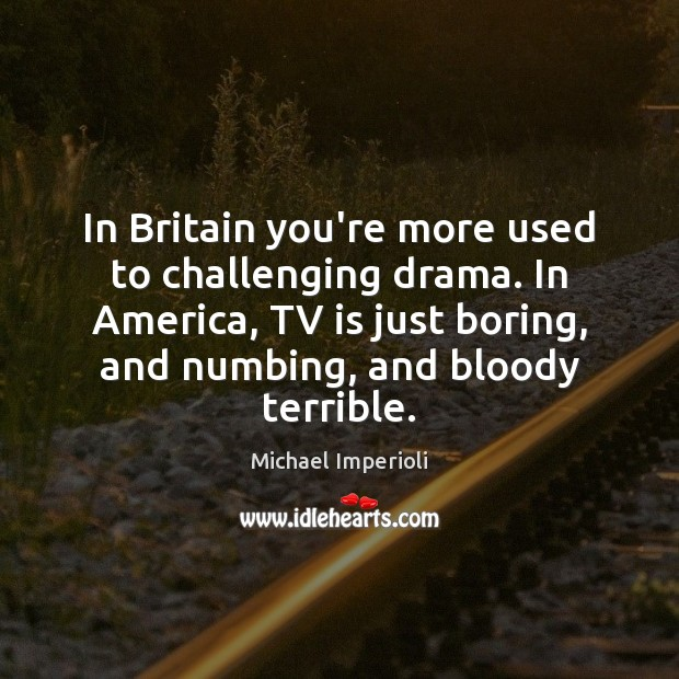 In Britain you're more used to challenging drama. In America, TV is Image