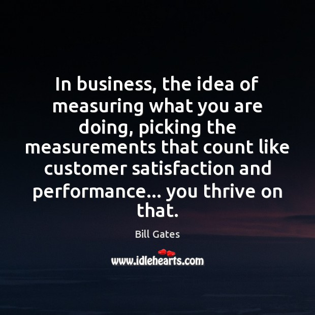 In business, the idea of measuring what you are doing, picking the Image