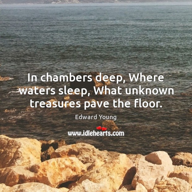 In chambers deep, Where waters sleep, What unknown treasures pave the floor. Image