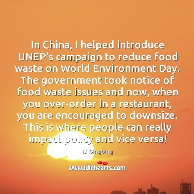 In China, I helped introduce UNEP's campaign to reduce food waste on Image