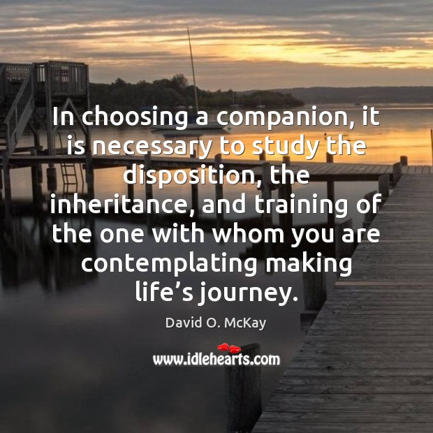 In choosing a companion, it is necessary to study the disposition, the David O. McKay Picture Quote