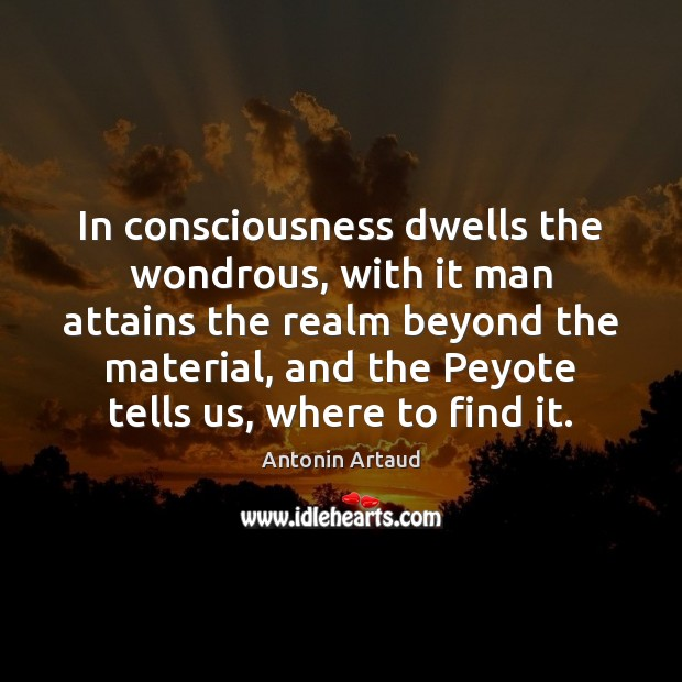 Image, In consciousness dwells the wondrous, with it man attains the realm beyond
