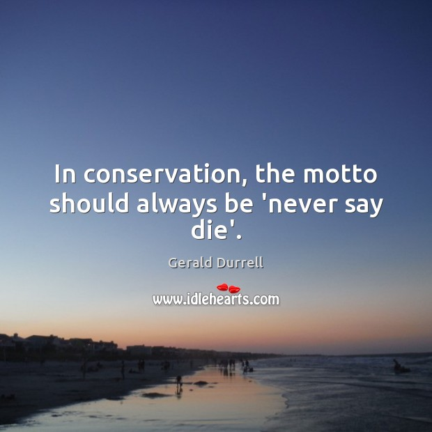 Image, In conservation, the motto should always be 'never say die'.