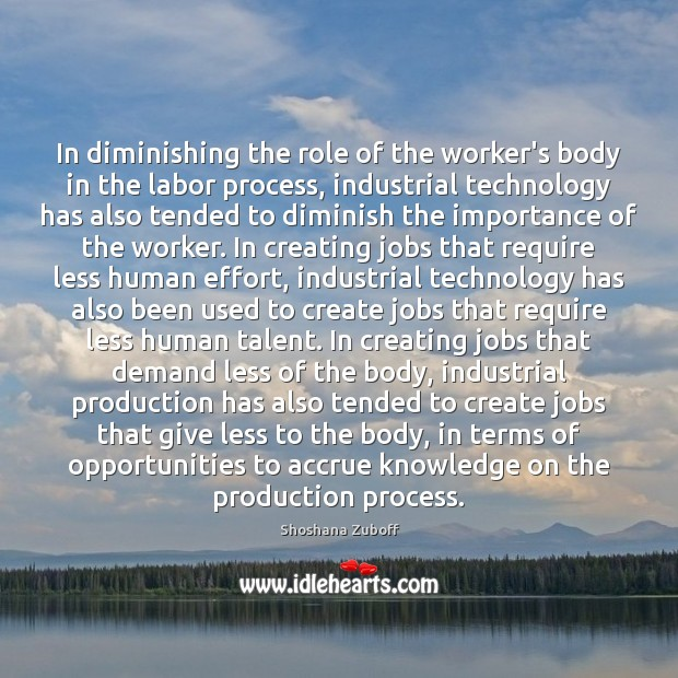 In diminishing the role of the worker's body in the labor process, Effort Quotes Image