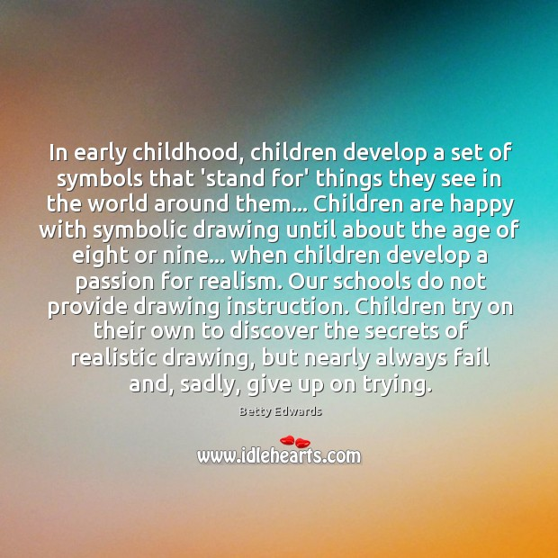 Image, In early childhood, children develop a set of symbols that 'stand for'