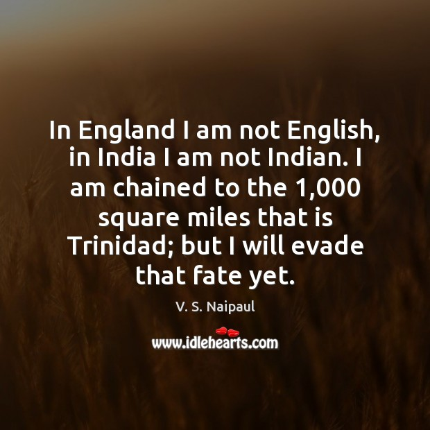 In England I am not English, in India I am not Indian. Image