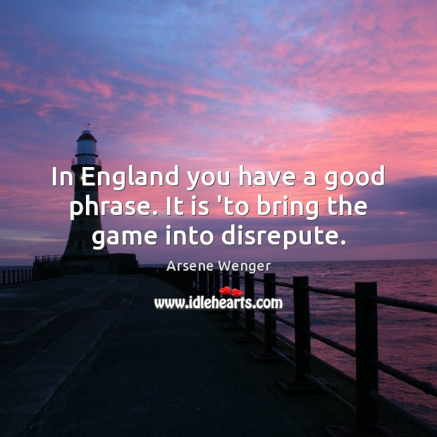 In England you have a good phrase. It is 'to bring the game into disrepute. Image