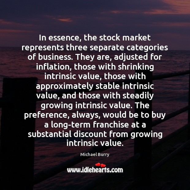 Image, In essence, the stock market represents three separate categories of business. They