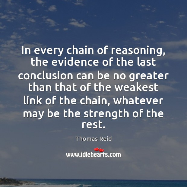 In every chain of reasoning, the evidence of the last conclusion can Image