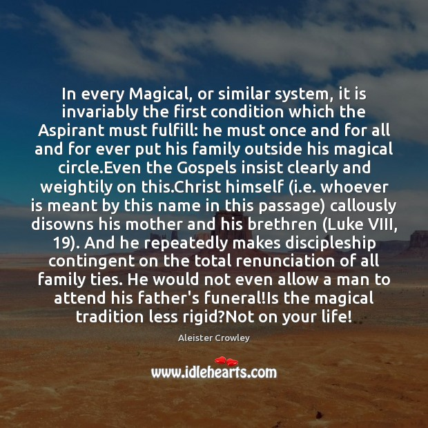 Image, In every Magical, or similar system, it is invariably the first condition