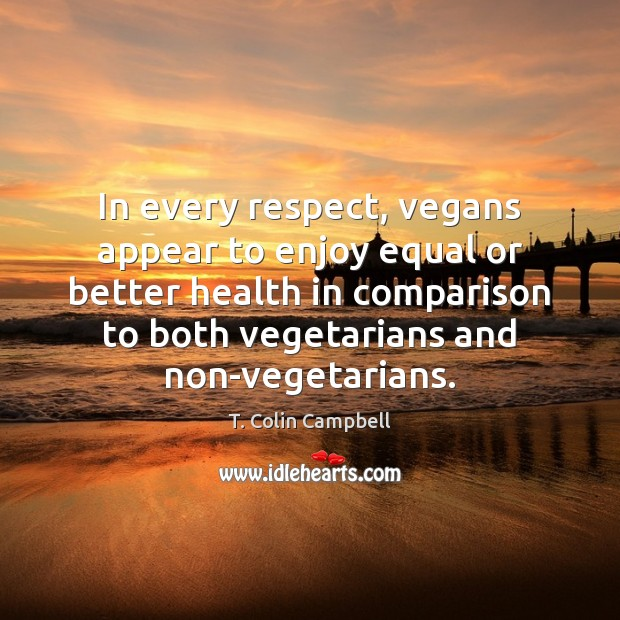 Image, In every respect, vegans appear to enjoy equal or better health in