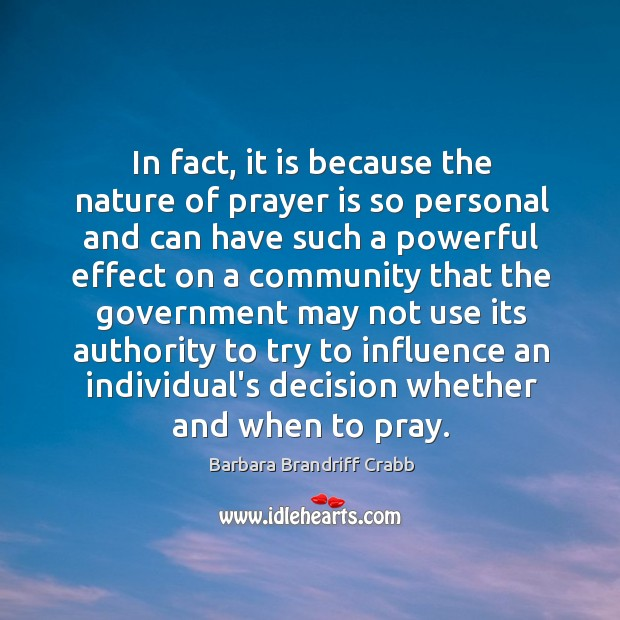 Image, In fact, it is because the nature of prayer is so personal