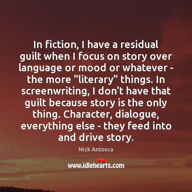 Image, In fiction, I have a residual guilt when I focus on story