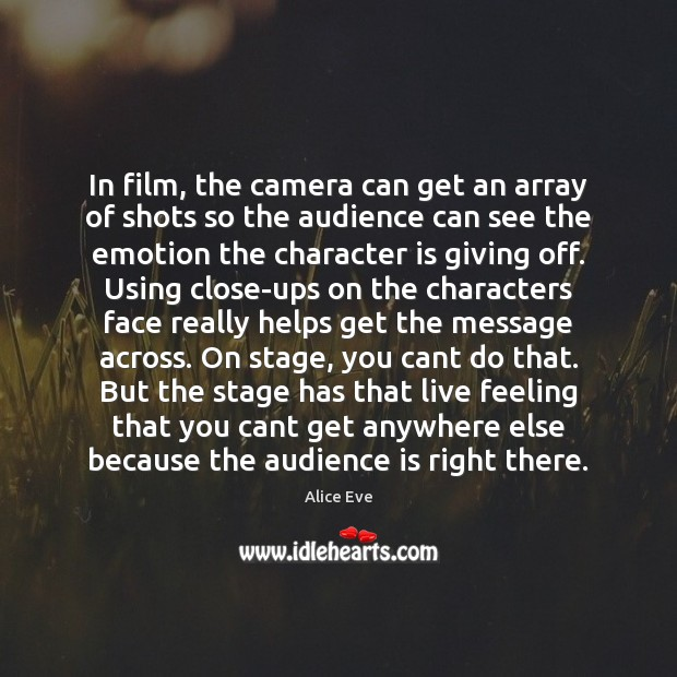 Image, In film, the camera can get an array of shots so the