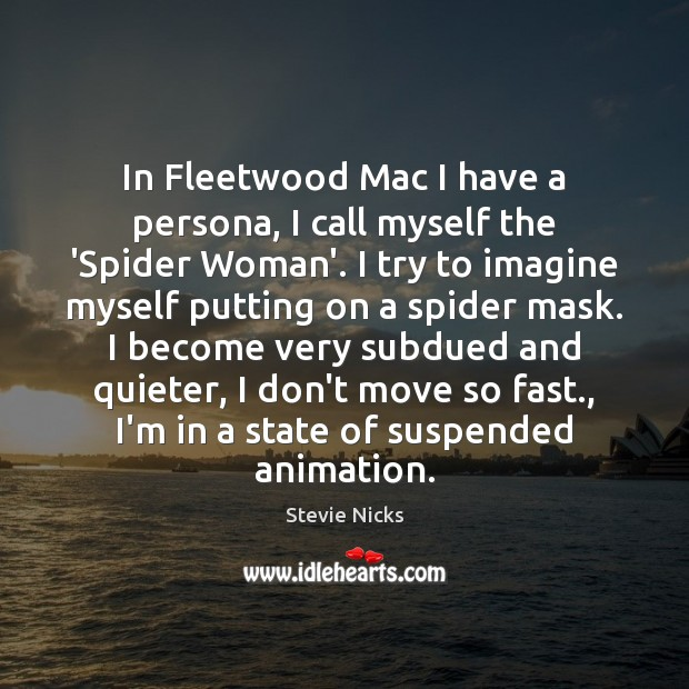 In Fleetwood Mac I have a persona, I call myself the 'Spider Stevie Nicks Picture Quote