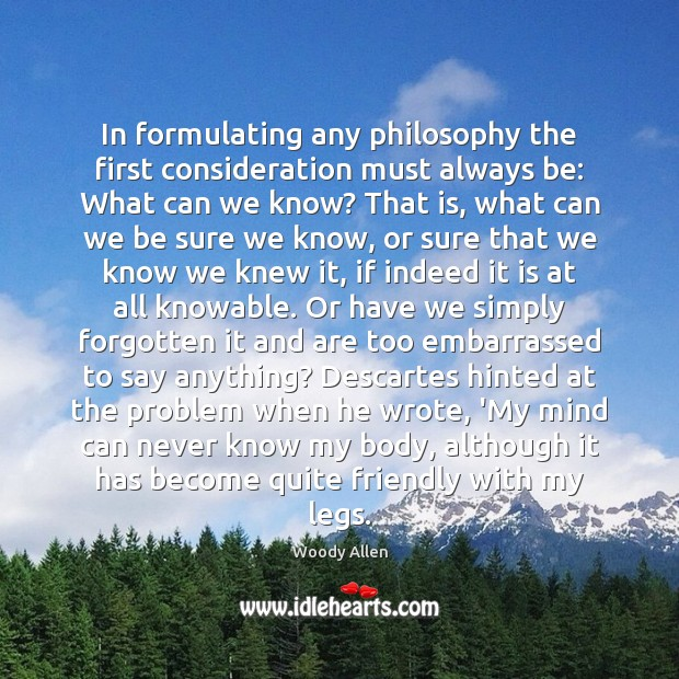 Image, In formulating any philosophy the first consideration must always be: What can