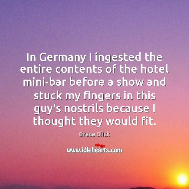 In Germany I ingested the entire contents of the hotel mini-bar before Grace Slick Picture Quote