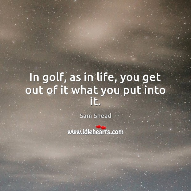 In golf, as in life, you get out of it what you put into it. Image