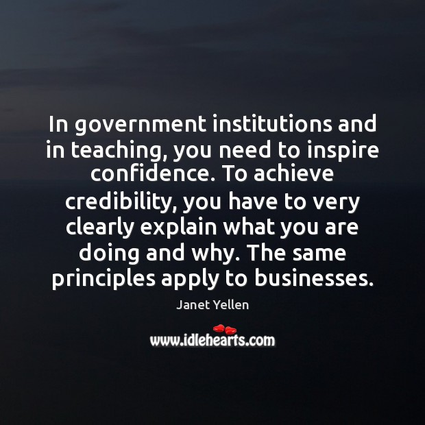 In government institutions and in teaching, you need to inspire confidence. To Image