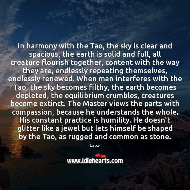 Image, In harmony with the Tao, the sky is clear and spacious, the