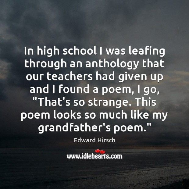 Image, In high school I was leafing through an anthology that our teachers