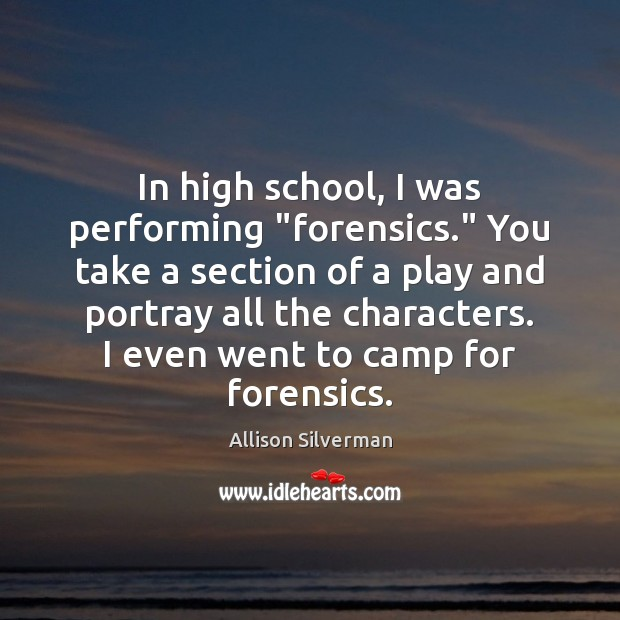 "Image, In high school, I was performing ""forensics."" You take a section of"