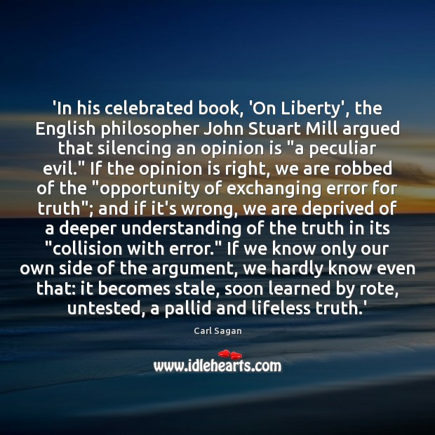 Image, 'In his celebrated book, 'On Liberty', the English philosopher John Stuart Mill