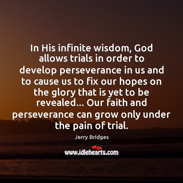 In His infinite wisdom, God allows trials in order to develop perseverance Jerry Bridges Picture Quote