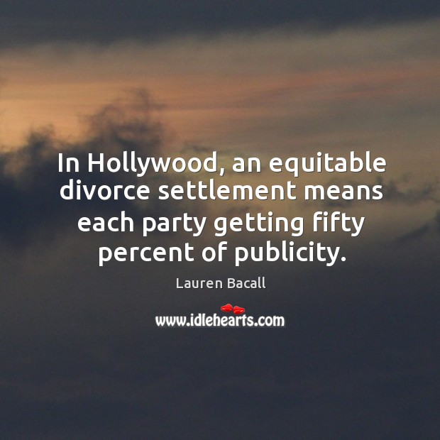 Image, In hollywood, an equitable divorce settlement means each party getting fifty percent of publicity.