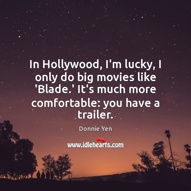 Image, In Hollywood, I'm lucky, I only do big movies like 'Blade.'