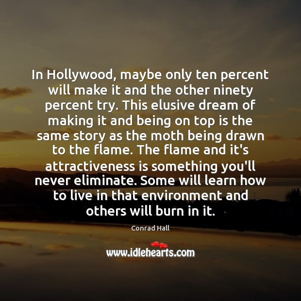 In Hollywood, maybe only ten percent will make it and the other Image