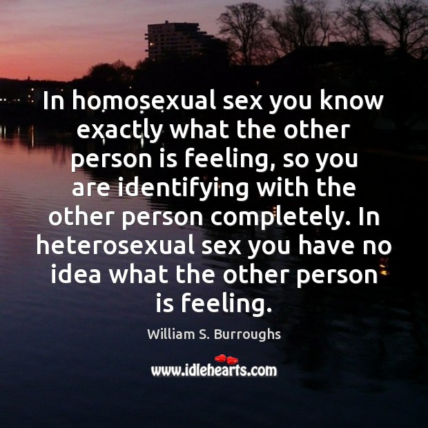 In homosexual sex you know exactly what the other person is feeling, Image