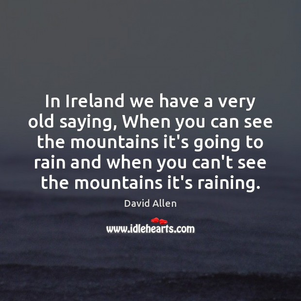 In Ireland we have a very old saying, When you can see David Allen Picture Quote