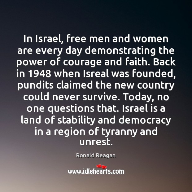 Image, In Israel, free men and women are every day demonstrating the power