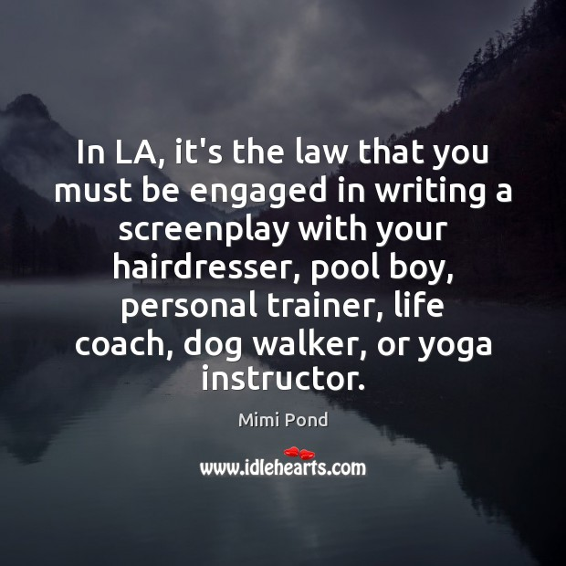 In LA, it's the law that you must be engaged in writing Image