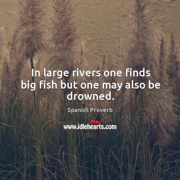In large rivers one finds big fish but one may also be drowned. Image