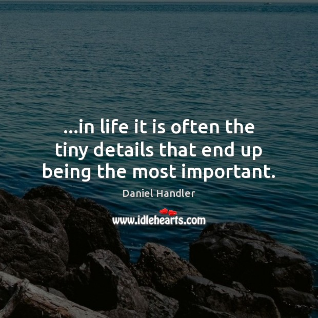 …in life it is often the tiny details that end up being the most important. Daniel Handler Picture Quote