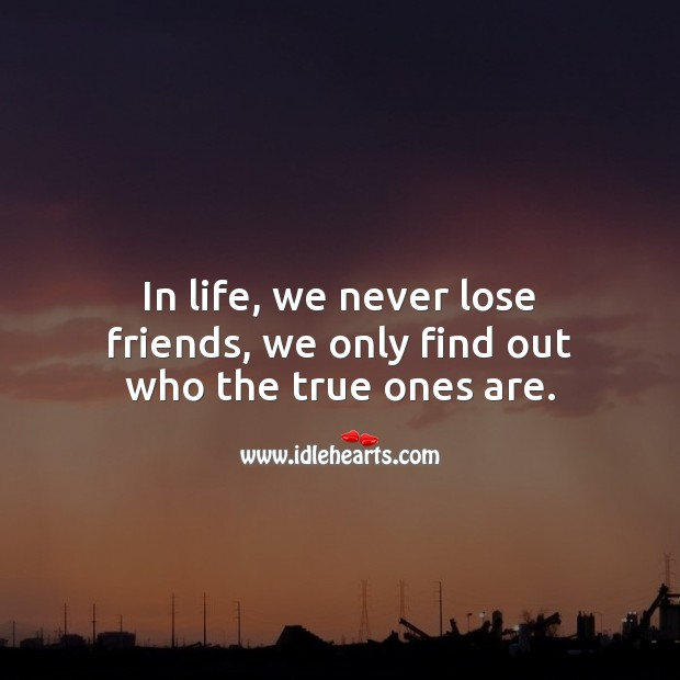 In life, we never lose friends, we only find out who the true ones are. True Friends Quotes Image