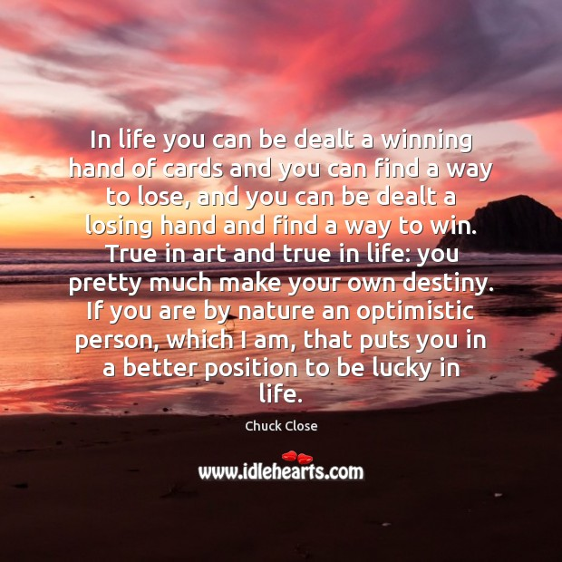 Image, In life you can be dealt a winning hand of cards and