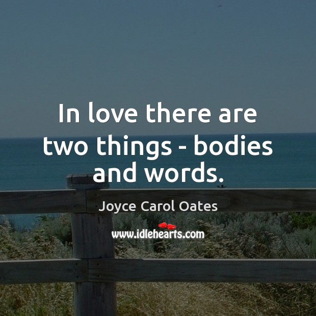 In love there are two things – bodies and words. Image