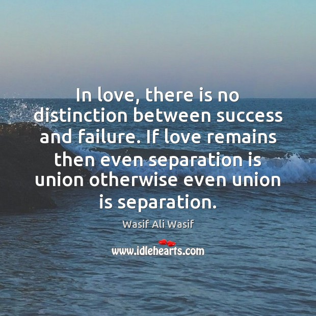 In love, there is no distinction between success and failure. If love Union Quotes Image