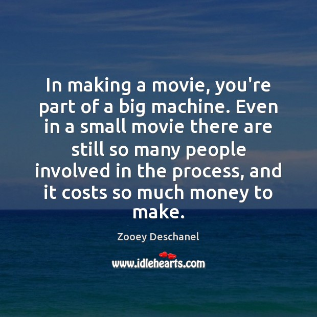 In making a movie, you're part of a big machine. Even in Image