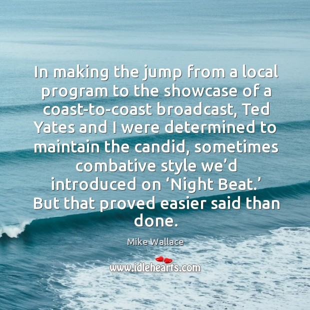 Image, In making the jump from a local program to the showcase of a coast-to-coast broadcast